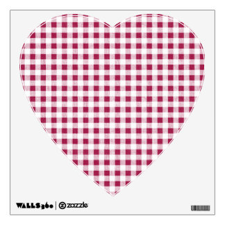 Berry Red White Gingham Pattern Wall Decal