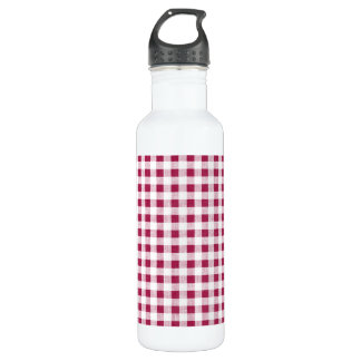 Berry Red White Gingham Pattern Water Bottle