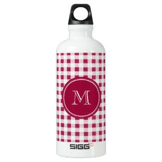 Berry Red White Gingham, Your Monogram Aluminum Water Bottle