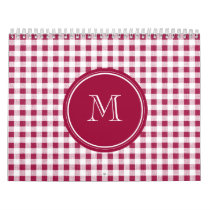 Berry Red White Gingham, Your Monogram Calendar