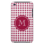 Berry Red White Gingham, Your Monogram iPod Touch Covers