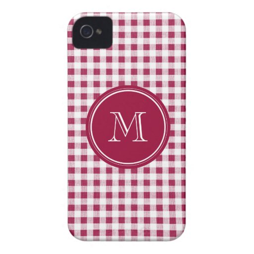 Berry Red White Gingham, Your Monogram Case-Mate iPhone 4 Cases