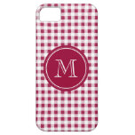 Berry Red White Gingham, Your Monogram iPhone 5 Cases