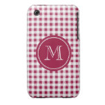 Berry Red White Gingham, Your Monogram iPhone 3 Covers