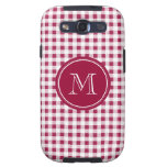 Berry Red White Gingham, Your Monogram Galaxy S3 Covers