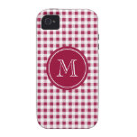 Berry Red White Gingham, Your Monogram iPhone 4/4S Covers