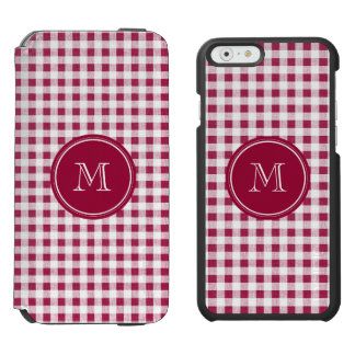 Berry Red White Gingham, Your Monogram iPhone 6/6s Wallet Case