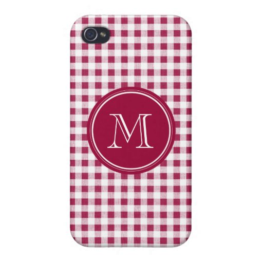Berry Red White Gingham, Your Monogram Covers For iPhone 4