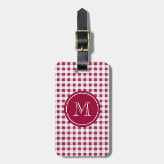 Berry Red White Gingham Your Monogram Luggage Tags