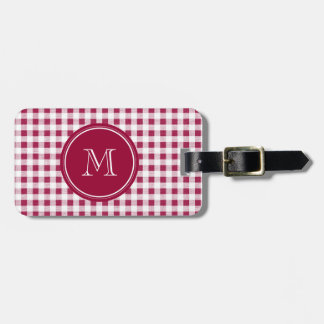 Berry Red White Gingham Your Monogram Travel Bag Tag