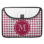 Berry Red White Gingham, Your Monogram MacBook Pro Sleeves