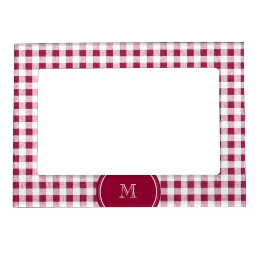 Berry Red White Gingham, Your Monogram Magnetic Frame