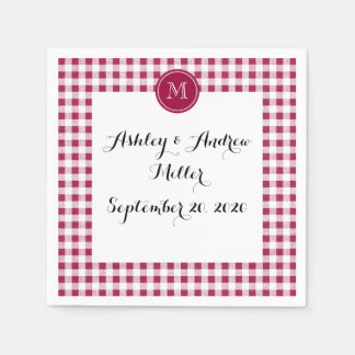 Berry Red White Gingham, Your Monogram Standard Cocktail Napkin