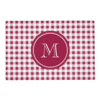 Berry Red White Gingham, Your Monogram Placemat