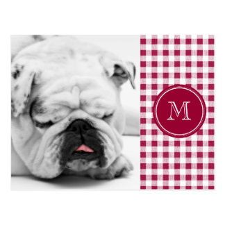 Berry Red White Gingham, Your Monogram Postcard