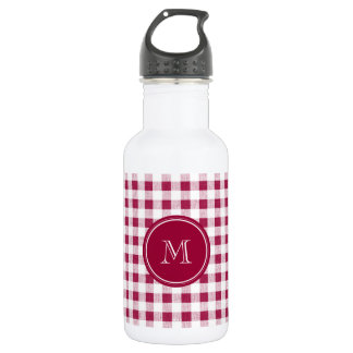 Berry Red White Gingham, Your Monogram Stainless Steel Water Bottle