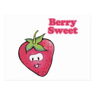 berry sweet cute strawberry postcard