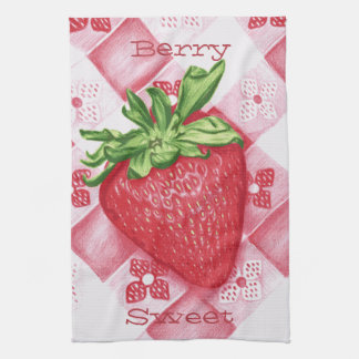 Berry Sweet Single Strawberry Art Kitchen Towel