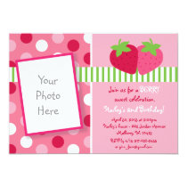 Berry Sweet Strawberry Photo Birthday Invitations