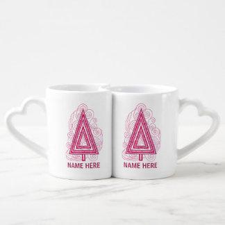 Berry Swirly Christmas Tree Modern Abstract Couples' Coffee Mug Set
