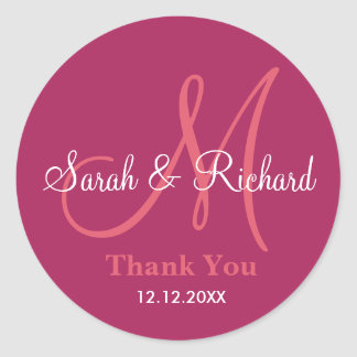 Berry Thank You Wedding Monogram Sticker