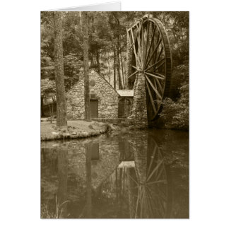 Berry water wheel sepia stationery note card