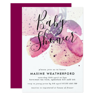 Berry Watercolor Orchid Baby Shower Invitation