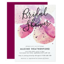 Berry Watercolor Orchid Bridal Shower Invitation