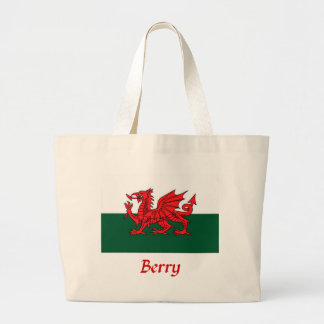 Berry Welsh Flag Large Tote Bag