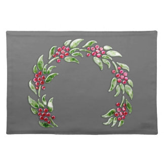 Berry Wreath on Any Color Background Cloth Placemat