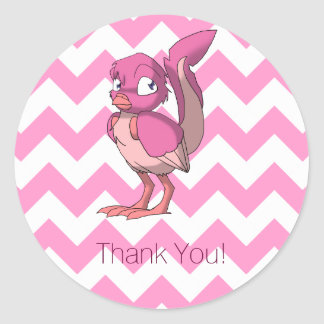 Berry Yogurt Reptilian Bird Thank You Classic Round Sticker