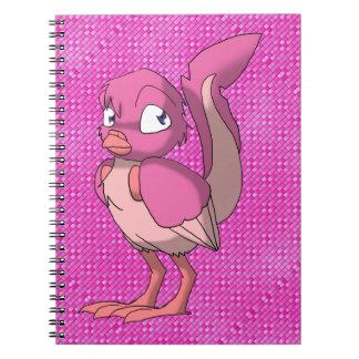 Berry Yogurt Reptilian Bird w/ Pink Geometric Back Spiral Notebook