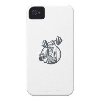 Berserker Lifting Barbell Kettlebell Circle Retro iPhone 4 Case