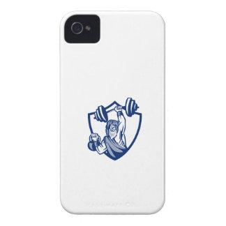 Berserker Lifting Barbell Kettlebell Crest Retro iPhone 4 Case-Mate Case