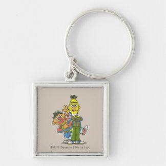Bert and Ernie Classic Style Silver-Colored Square Keychain
