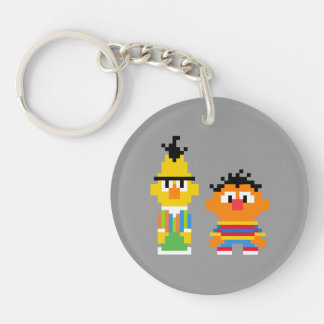 Bert and Ernie Pixel Art Double-Sided Round Acrylic Keychain