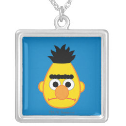 Bert Angry Face Silver Plated Necklace
