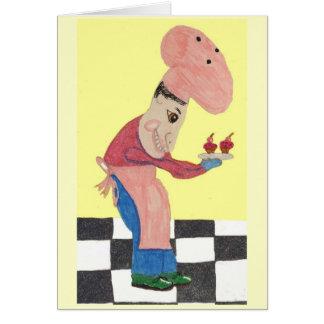 Bert cuece los bollos del salvado del arándano tarjeta de felicitación