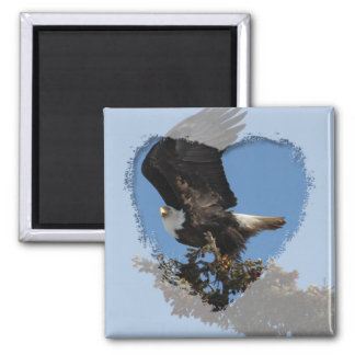 BERTF Bald Eagle Ready to Flee 2 Inch Square Magnet