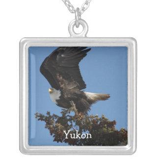 BERTF Bald Eagle Ready to Flee Square Pendant Necklace