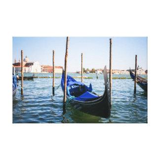 Berth in Venice Blue Canvas Print