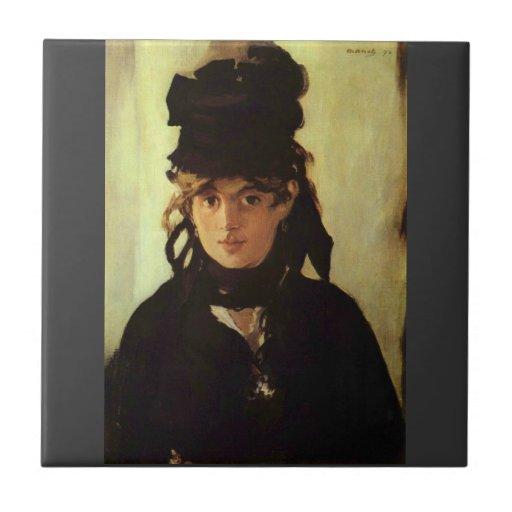 Berthe Morisot de Eduardo Manet Azulejo Cuadrado Pequeño