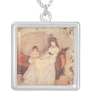 Berthe Morisot - Edma the sister of the artist wit Square Pendant Necklace