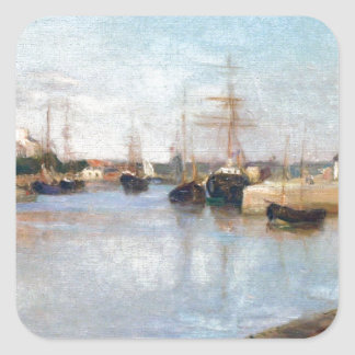 Berthe Morisot el puerto en Lorient Pegatina Cuadrada