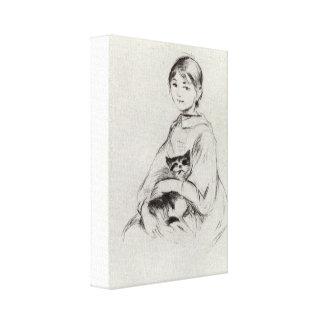 Berthe Morisot - Girl with a Cat Canvas Print