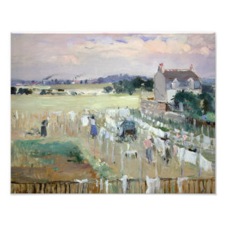 Berthe Morisot - Hanging the Laundry out to Dry Photo Print