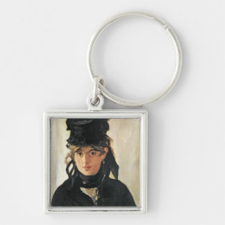 Berthe Morisot with a Bouquet of Violets, 1872 Silver-Colored Square Keychain