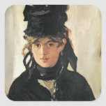 Berthe Morisot with a Bouquet of Violets, 1872 Square Sticker