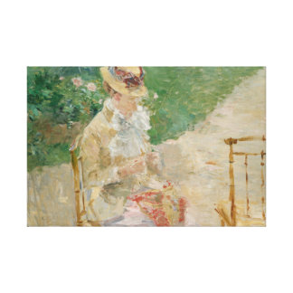 Berthe Morisot - Young Woman Knitting Canvas Print