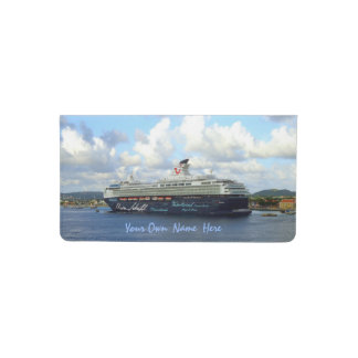 Berthed in Bonaire Personalized in Blue Checkbook Cover